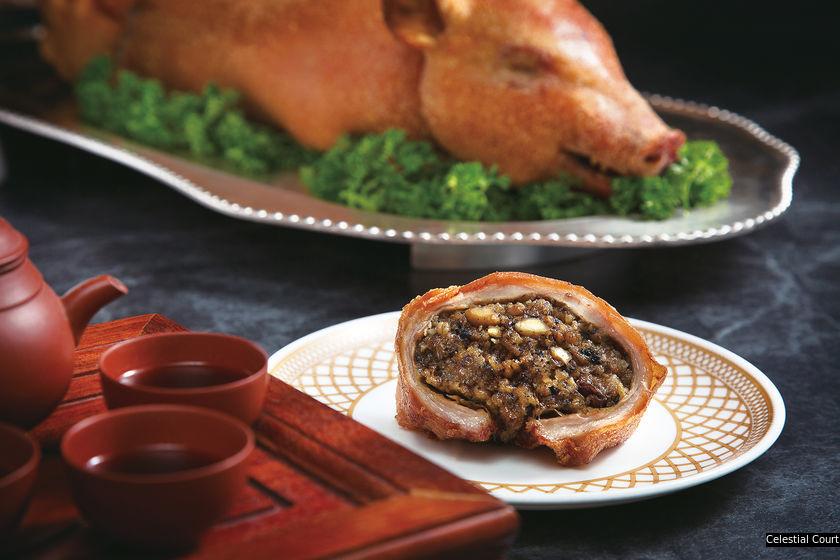 天寶閣的黑松露薏米燒釀乳豬