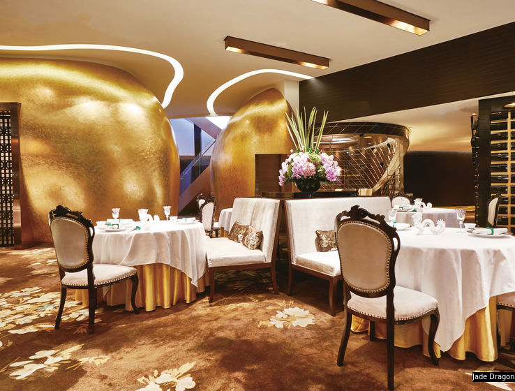 The 49 designated restaurants include three-MICHELIN-star Cantonese institutesLung King Heen,T'ang Courtand Macau'sJade Dragon(pictured), as well as renowned French restaurantCaprice