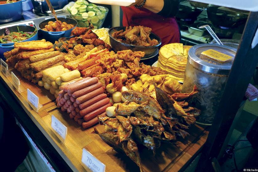 The selection of food at Nasi Lemak Kukus.