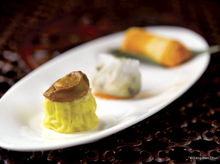 Dim sum items such as steamed pork dumpling with baby abalone. (Credit: Jiang-Nan Chun)
