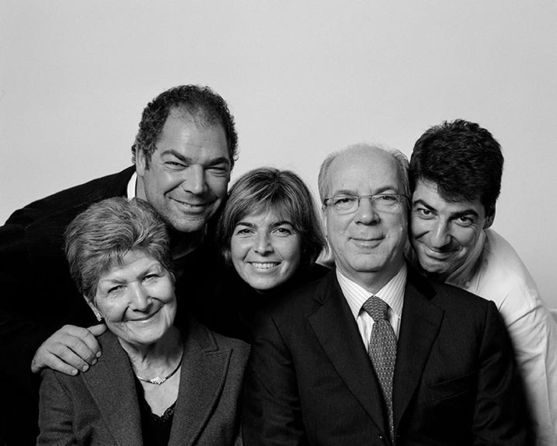 Massimiliano Alajmo (far right), mother Rita Chimetto (far left) and the rest of the Alajmo family