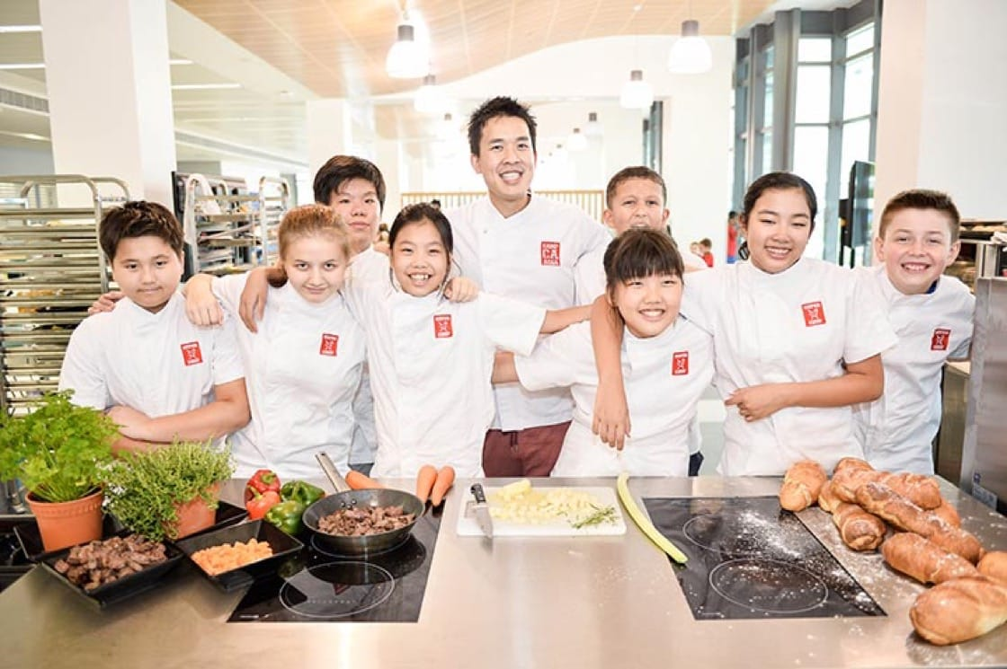 Chef Tim Ong and his young charges at Campasia's Super Chef cooking camps for kids
