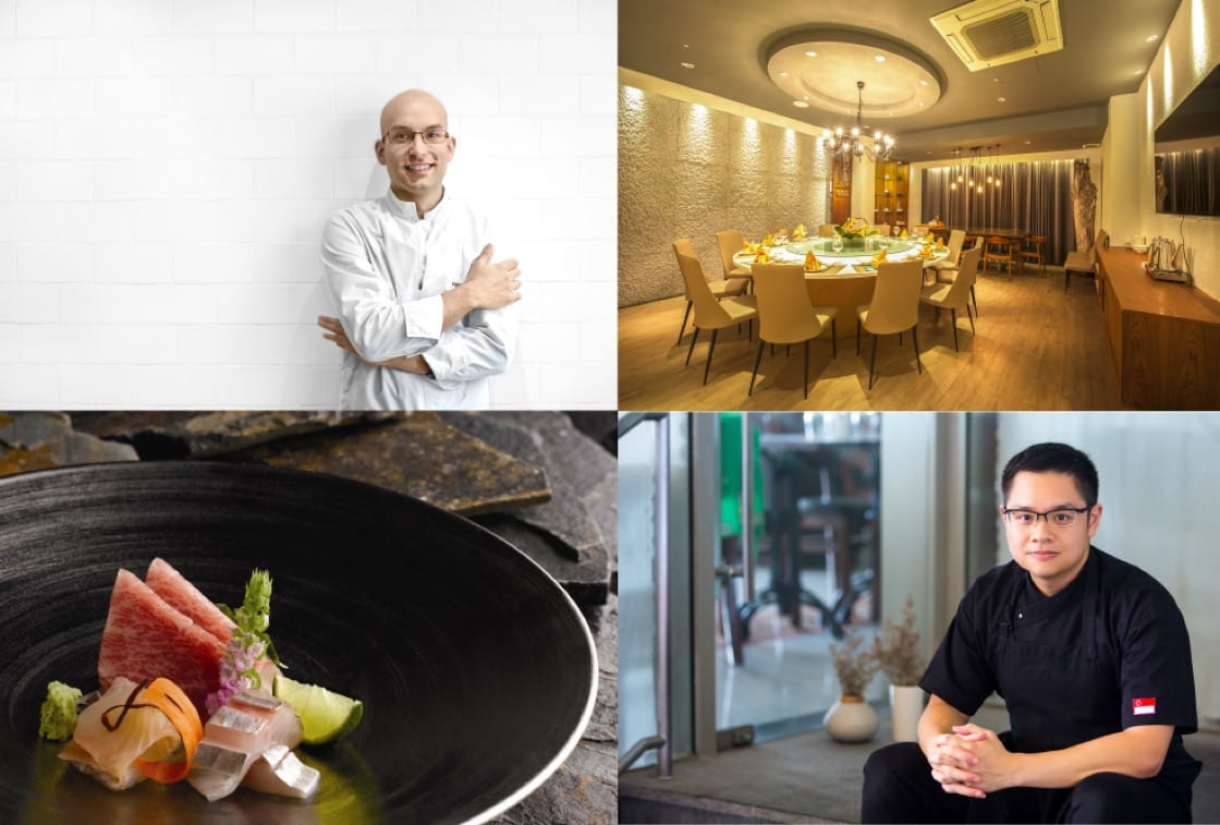 In the one star category: Ivan Brehm of Kitchen at Bacchanalia (top left); the interiors of Putien (Kitchener Road) (top right); a sashimi platter from Shinji by Kanesaka (bottom left), Peranakan chef Malcolm Lee of Candlenut (bottom right)