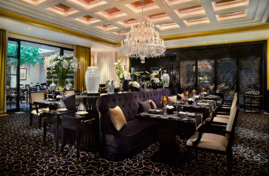 The main dining room of Joel Robuchon, the only three-Michelin-starred restaurant in the 2016 Michelin Guide Singapore