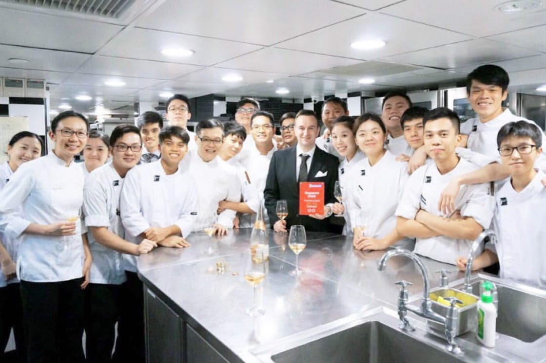 Chef Sebastien Lepinoy went back to the restaurant to celebrate with his team. Image credit: Les Amis' Facebook