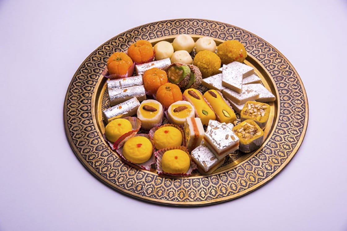 A traditional platter of assorted Diwali Mithai (sweets)
