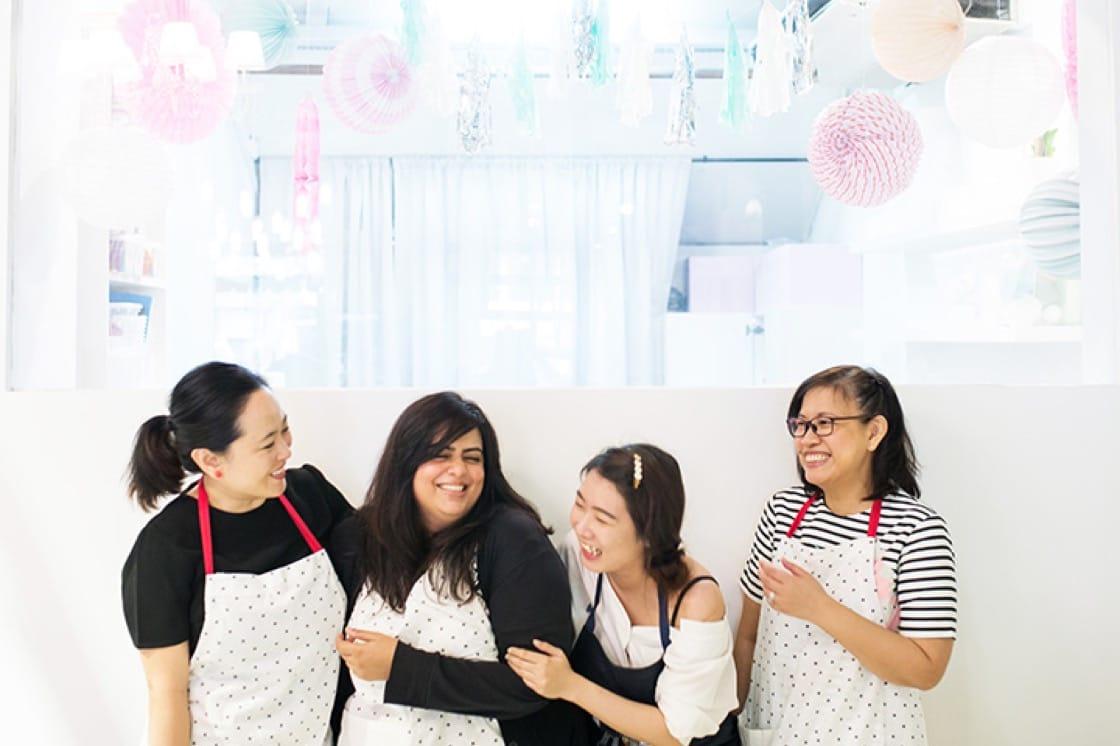 The fondant artists. From left: Wynona, Nisha, Jocelyn and Daisy