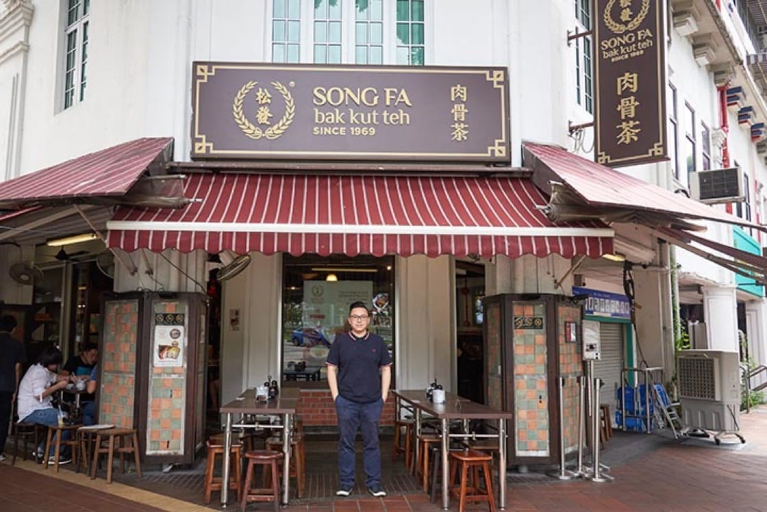 Yeo Hart Pong, current second generation business owner of Song Fa Bak Kut Teh in front of their Bib Gourmand-rated New Bridge Road outlet. Photo: Nicholas Ee
