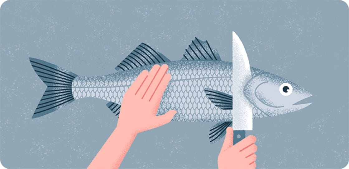 Step 2: Cut The Gills and Tail | Illustration by: Siow Jun