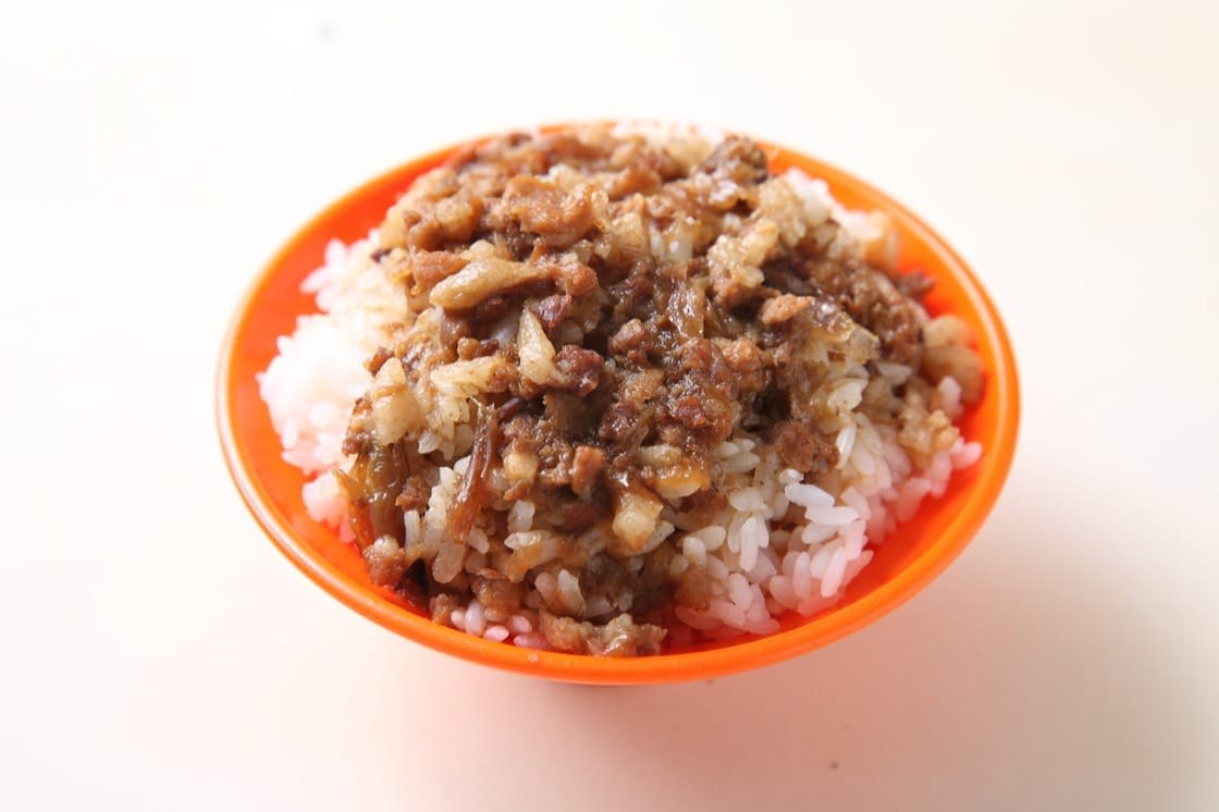 Fatty pieces of minced pork atop fluffy white rice is a must-try in Tainan.