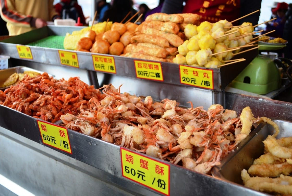 Shrimp balls are a popular item in Tainan's food markets.