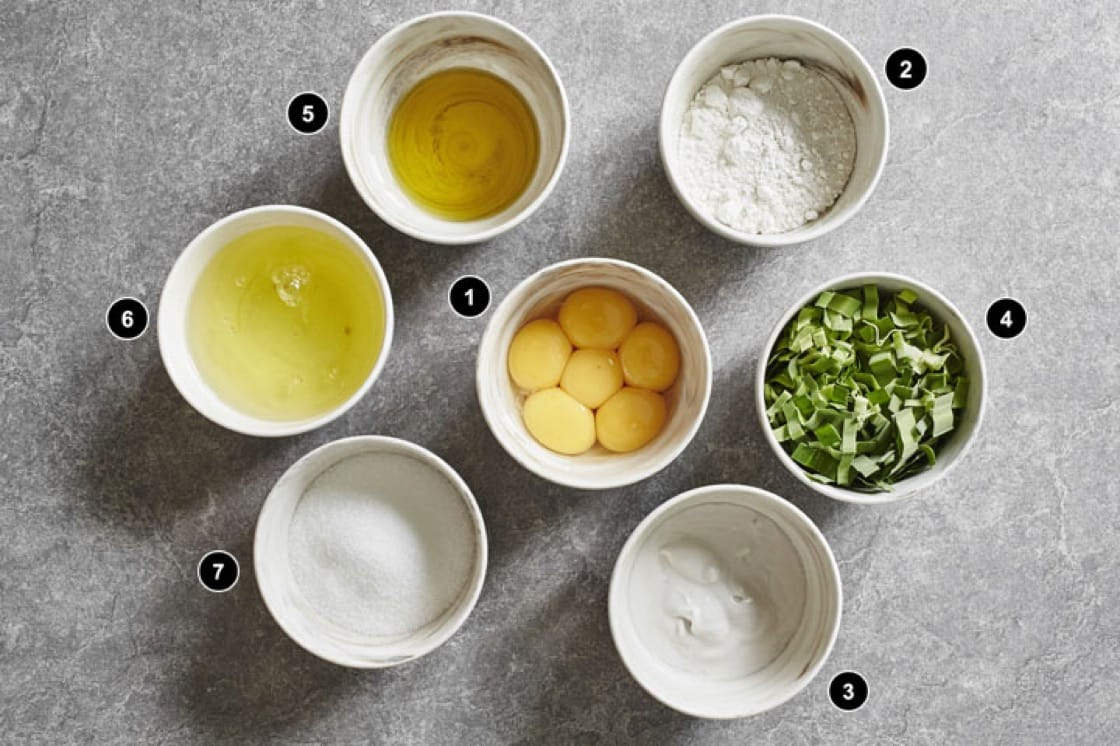 Ingredients to make pandan chiffon cake. Photography by Wong Weiliang.