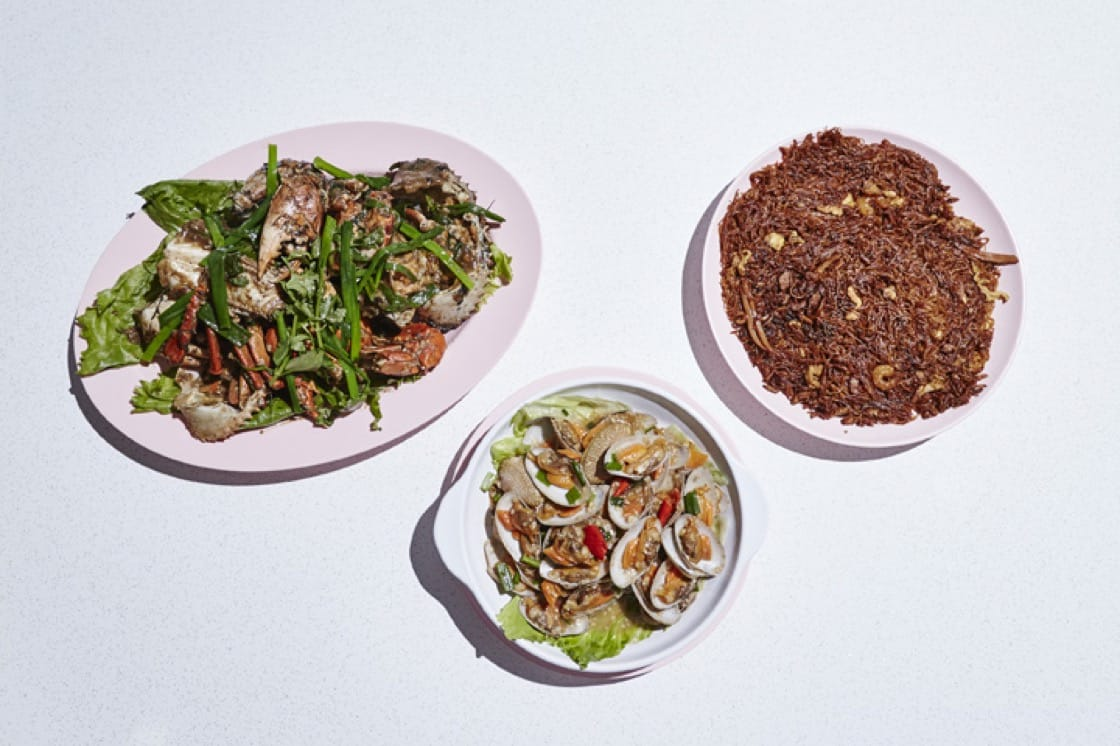 Some of JB Ah Meng's Signatures; left: white pepper crab; middle: Garlic chilli lala; right: san lou bee hoon. Photography by Wong Weiliang.