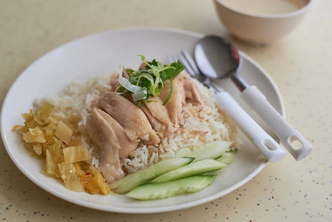 Hainanese chicken rice is considered one of Singapore's national dishes.