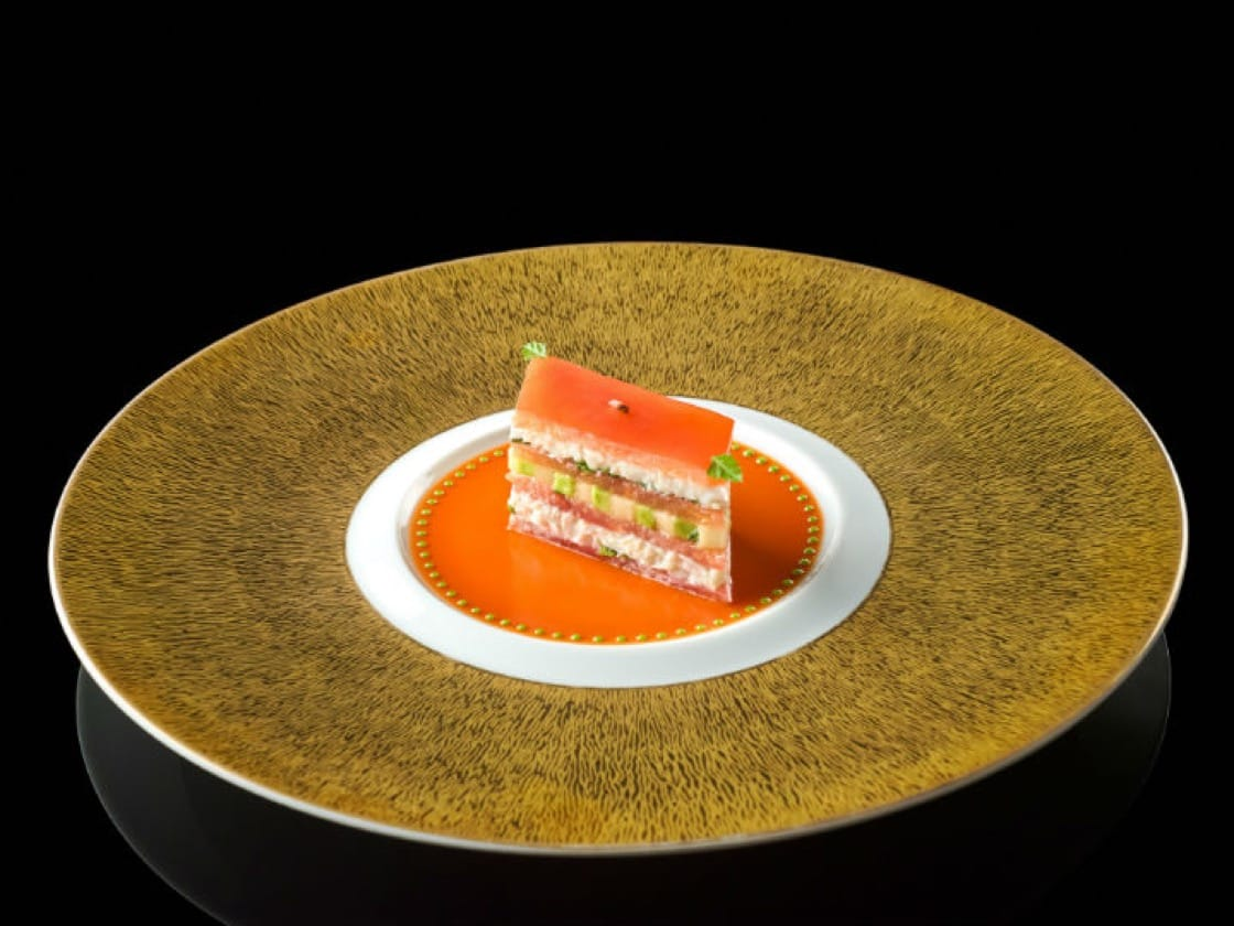 King crab and tomato mille-feuille with a coulis verjuté, Joel Robuchon Restaurant. (Credit:Joel Robuchon Restaurant)