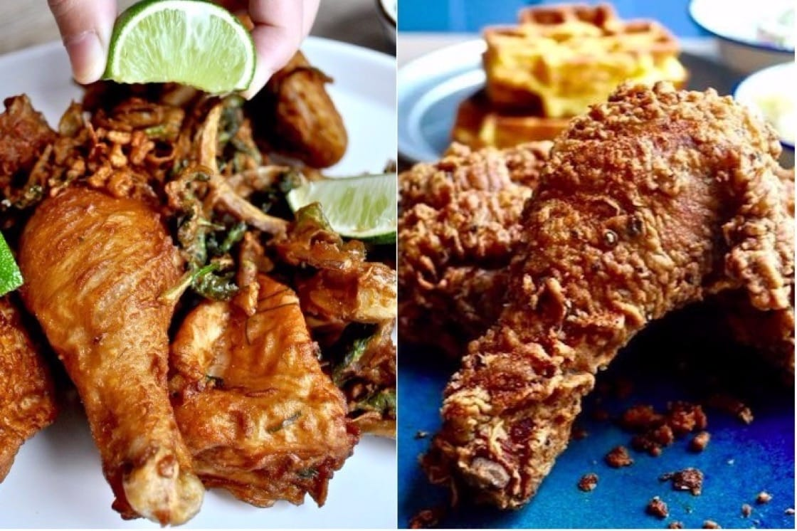 A side by side comparison of the Bangkok Fried Chicken (L) and the Southern Fried Chicken (R) at Bird Bird