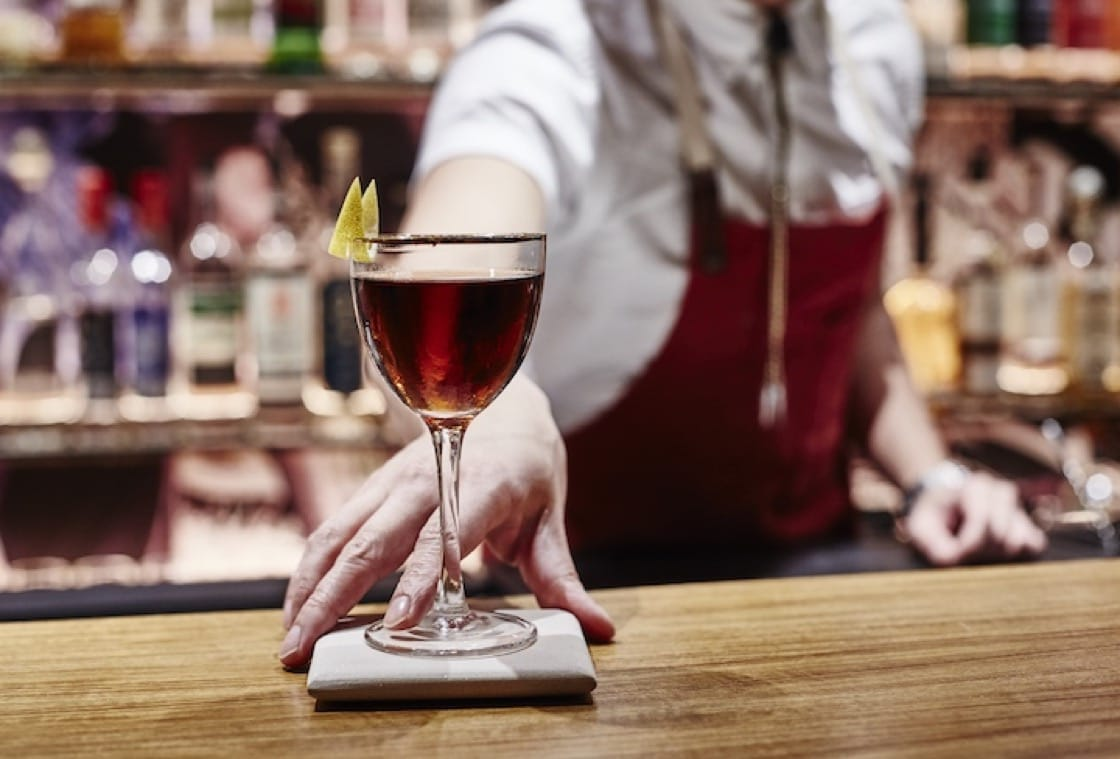 The Hanky Panky at Junior bar is a spicy riff on the traditional drink made from gin and sweet vermouth.