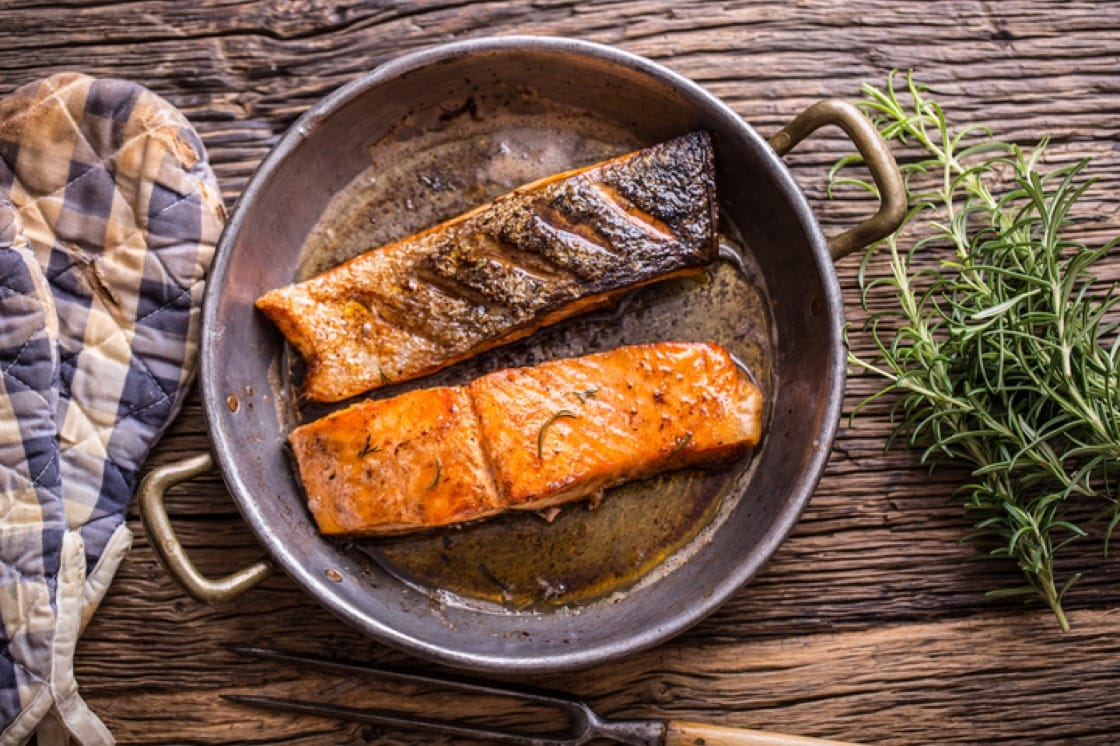 Pan-fry your salmon fillets skin-down on a hot pan for a nice sear