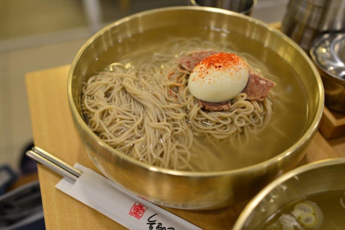 A bowl of naengmyeon at Jungin Myeonok
