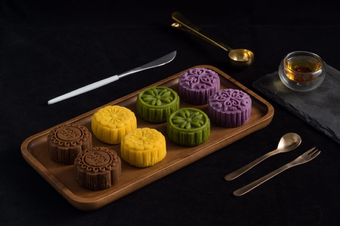 An assortment of contemporary snow skin mooncakes