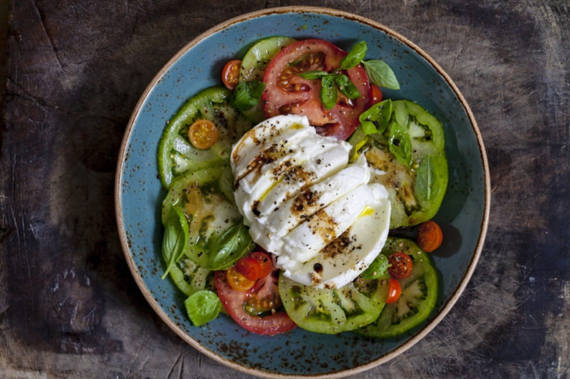 Salad of heirloom tomatoes and burrata