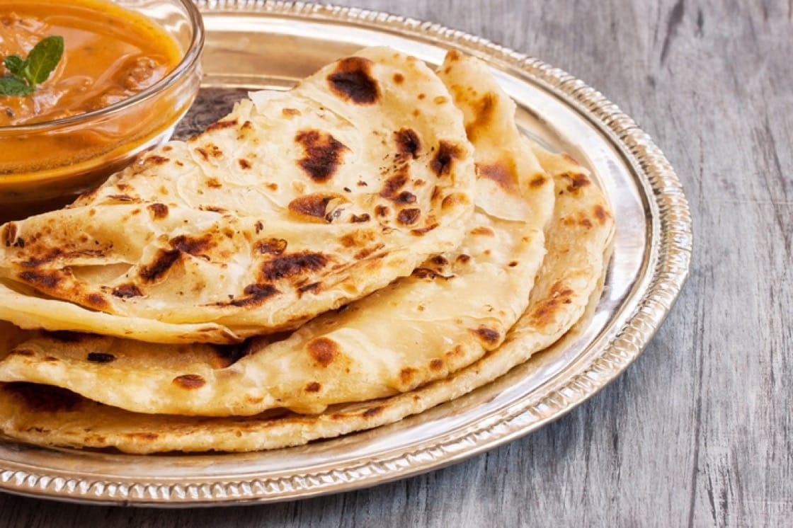 Flaky, layered paratha