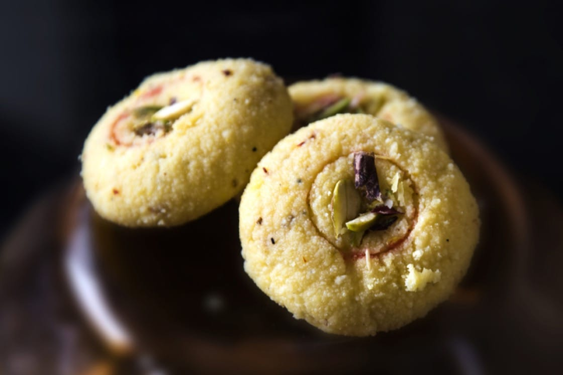 Here's a Kesar Peda that's infused with saffron