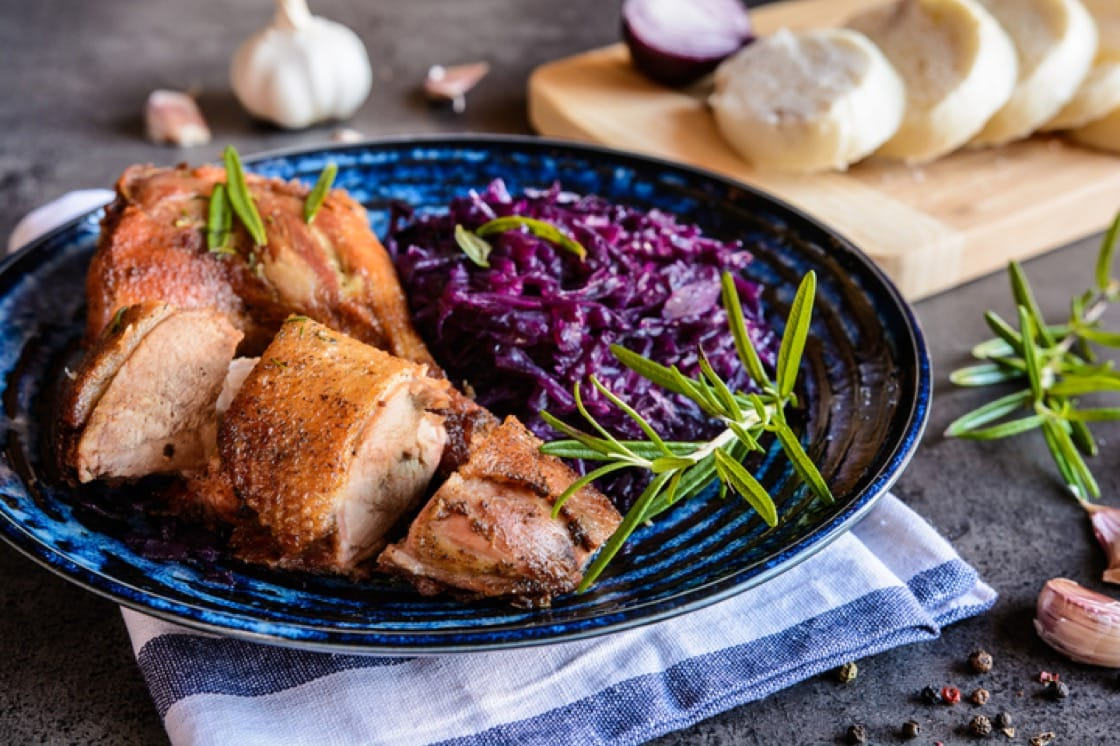 Roasted duck with braised red cabbage