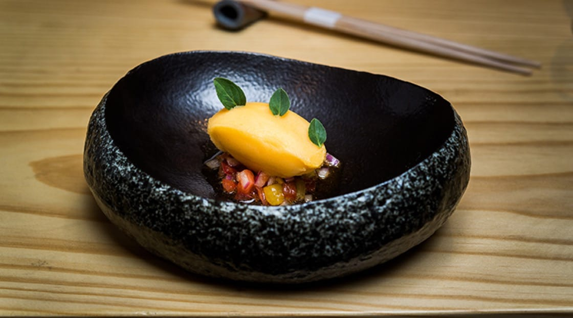 Vegan tomato tartare at Kōbō. Photo by Rey Lopez.