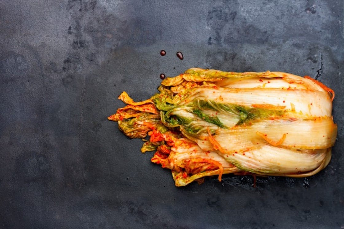 Baechu-kimchi (배추김치) is made with napa cabbage