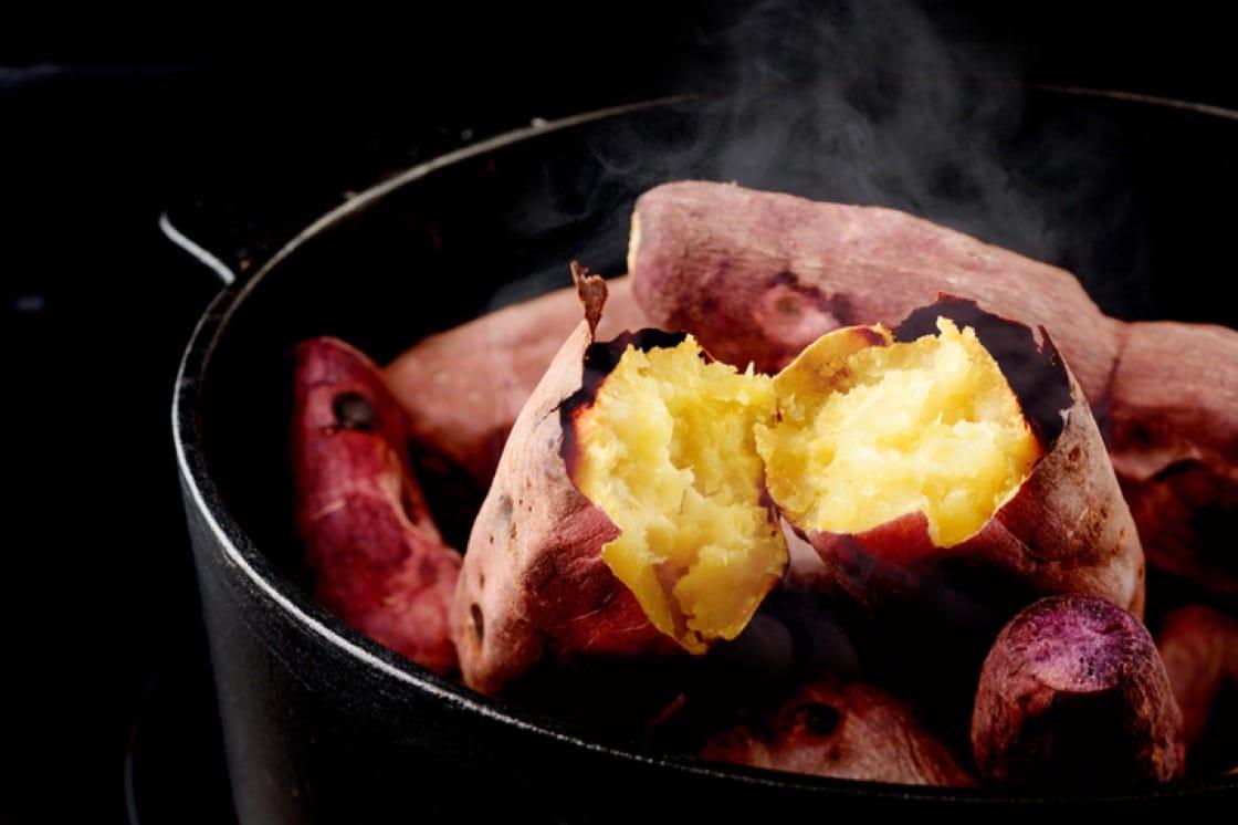 The purple tuber, known as satsuma-imo, is similar to a regular sweet potato