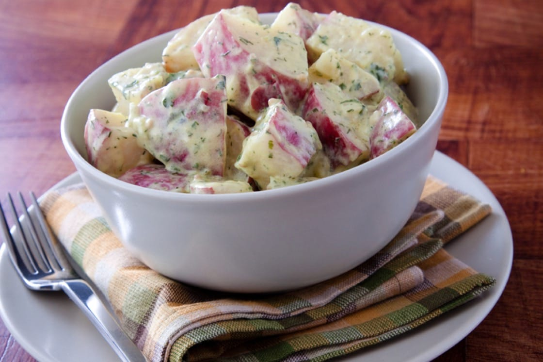 Potato salad made with waxy red potatoes