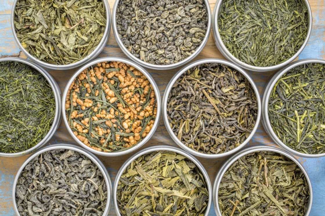 A variety of loose green teas.