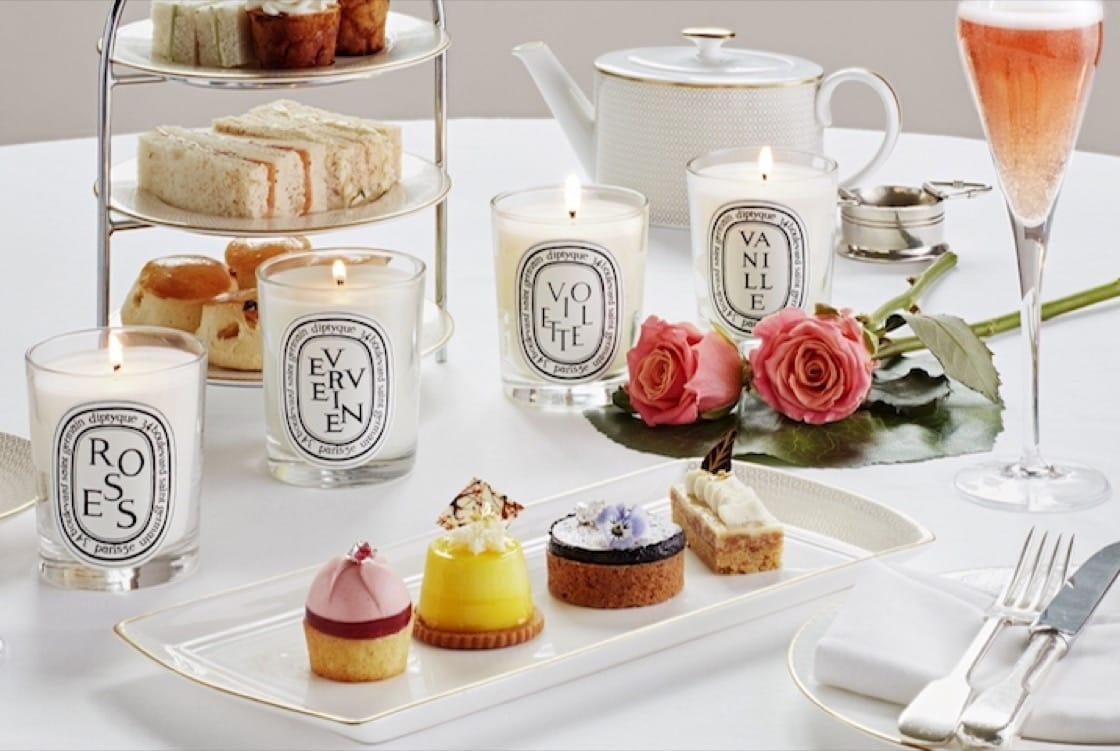 A sensory afternoon tea at Hotel Café Royal comes with Diptyque candles.