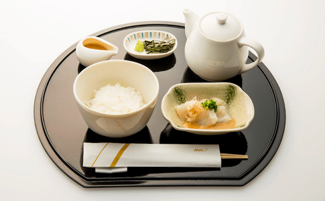 Kunio Tokuoka's light meal of rice and sea bream to be served on ANA's first-class on flights departing Japan for Europe and North America.
