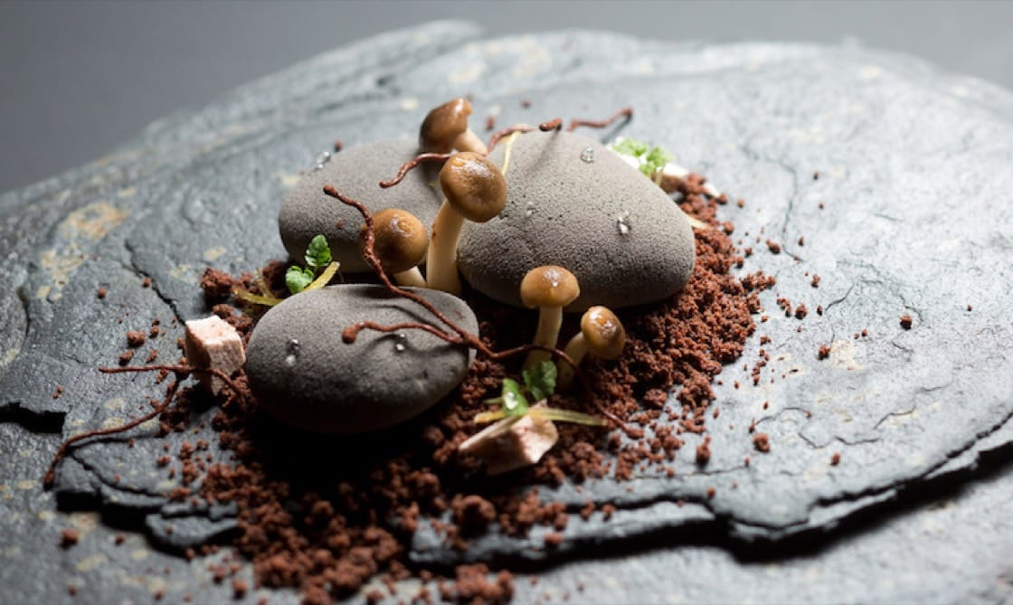 Corner House's iconic dessert of cocoa pebbles, chocolate soil and pickled shimeji mushrooms