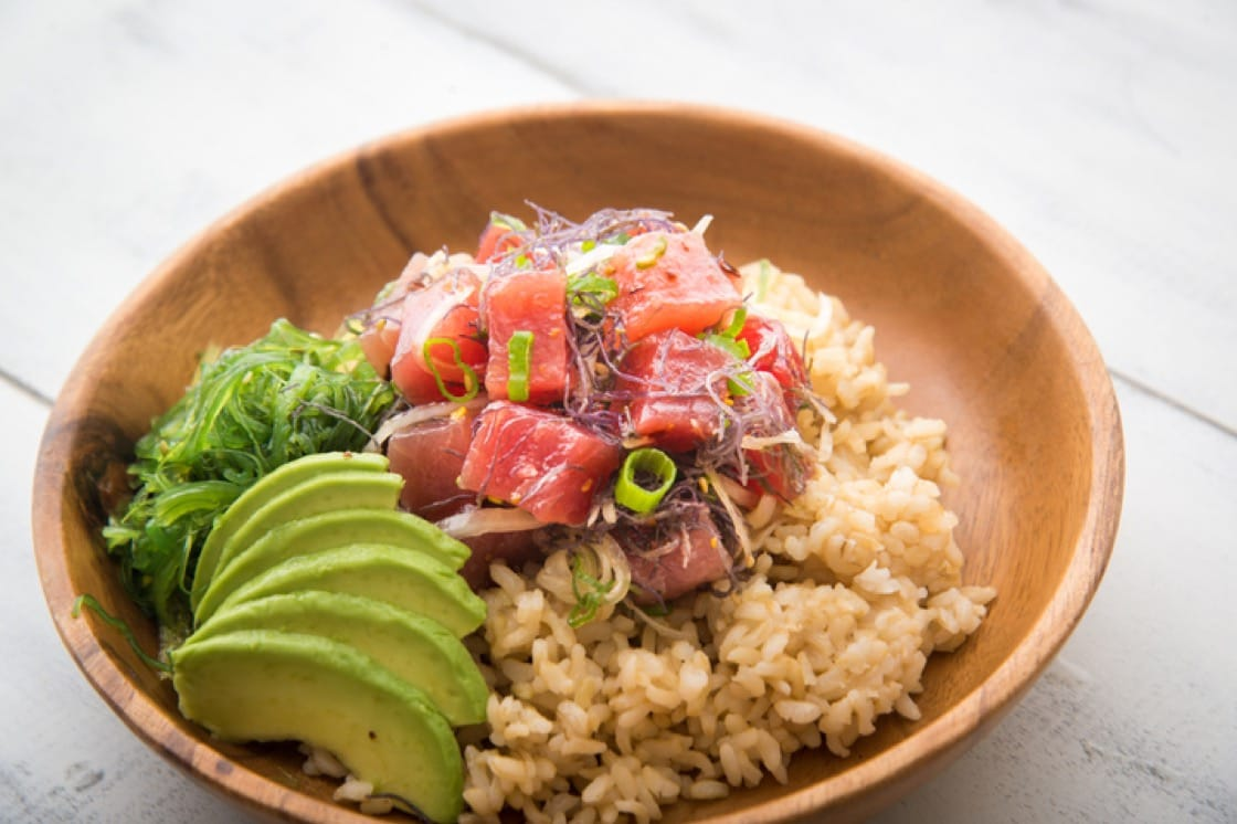 Poke is traditionally made with ahi tuna or octopus.
