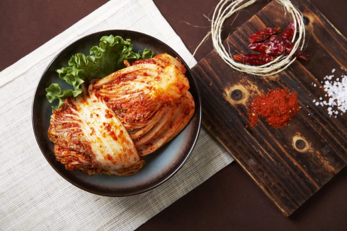 The kimchi we're most familiar with is made with fermented napa cabbage.