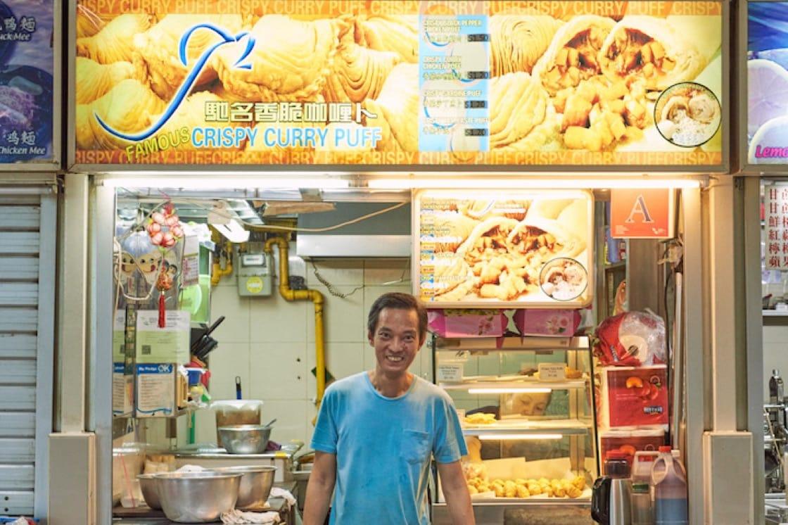 Owner Lee Meng Li at his stall at Amoy Street Food Centre