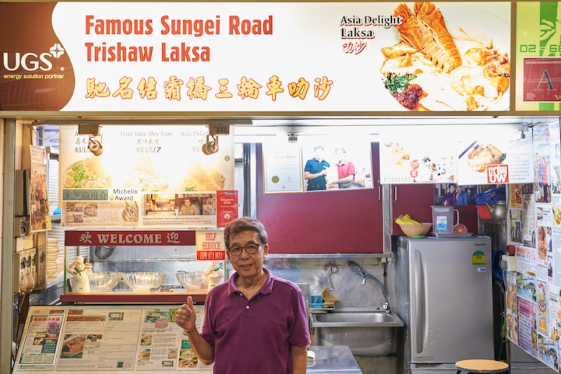 The stall's name pays tribute to the style of laksa made popular by the food vendors at Sungei Road some 50 years ago.