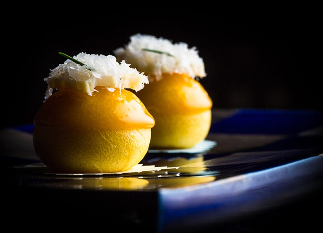 Steamed bun with corn and Parmesan. Photo by Eric Wolfinger.