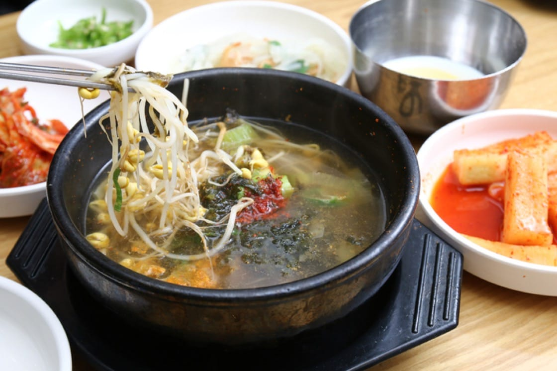 Various types of the Korean hangover soup include a congealed blood soup, pollack soup and bean sprout soup (pictured).