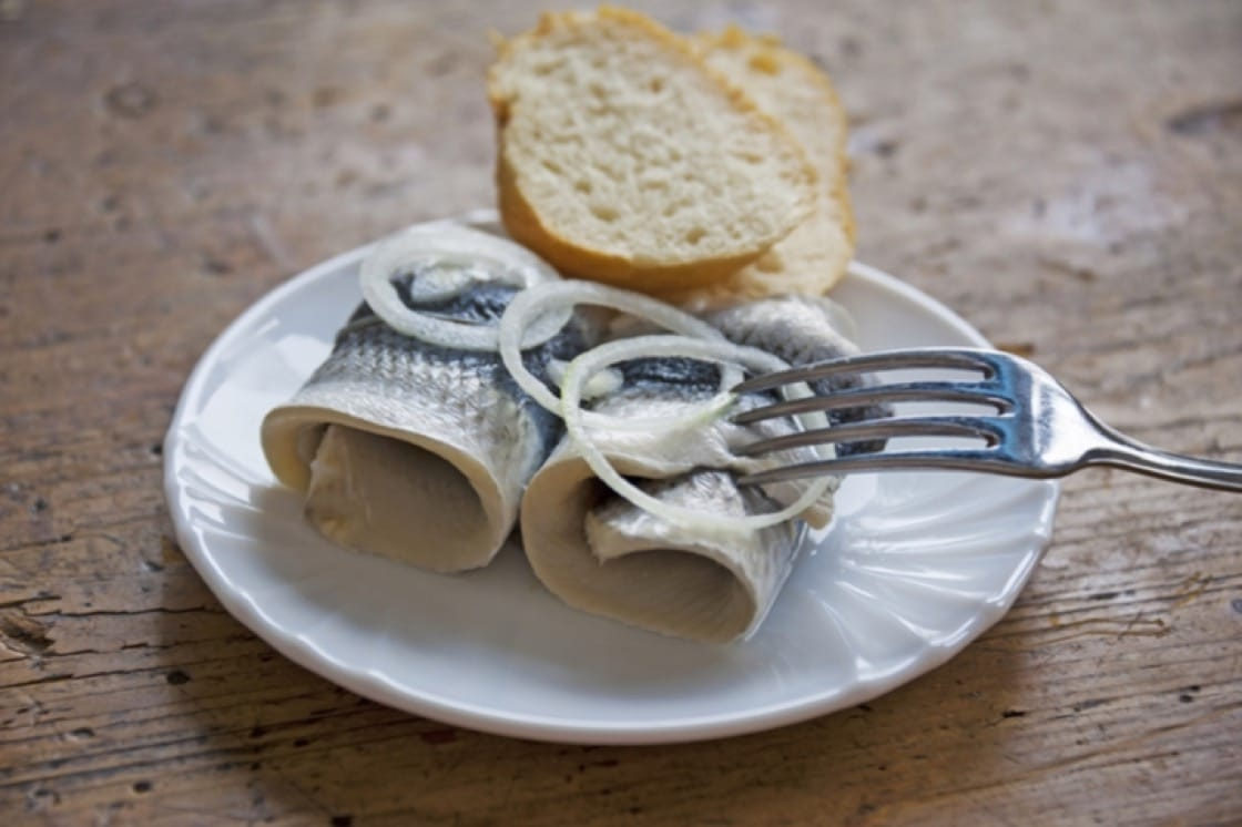 Rollmops, or pickled herring, are commonly served as part of the German Katerfrühstück (hangover breakfast).