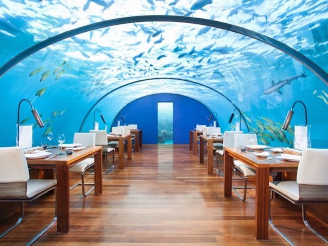 Submerged under the water in the Indian Ocean lies the beautiful Ithaa Undersea Restaurant.