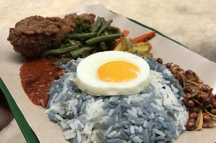 The blue colouring used to make the rice at Jia Xiang Nasi Lemak is 100% natural.