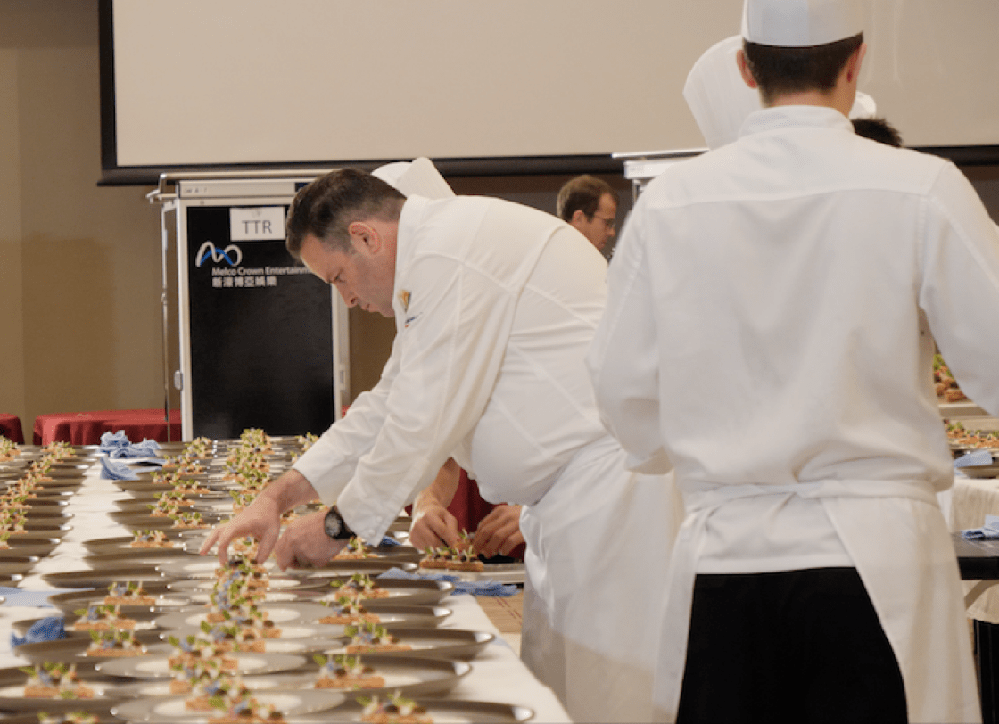 Chef Fabrice Vulin plating his Brittany blue lobster tart with watermelon.