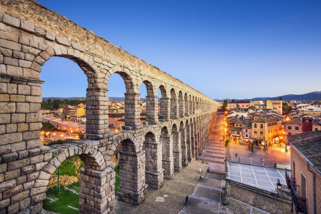 The ruins of the ancient Roman aqueduct in Segovia.