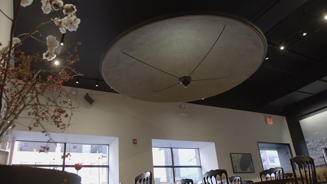 At center stage in the restaurant, the UFO represents what the future holds.