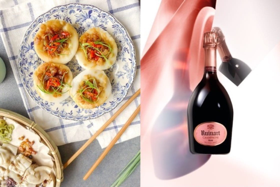 A glass of medium-bodied rose champagne goes well with spicy Asian fare, like chwee kueh — a popular breakfast food.