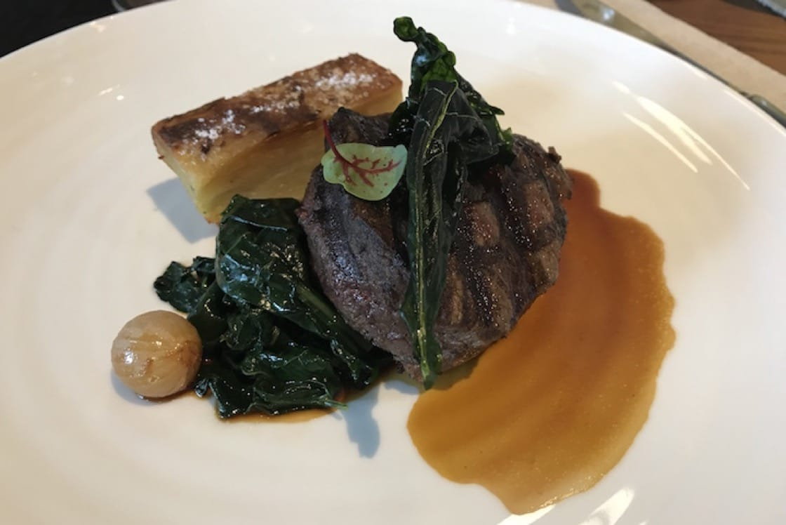 Williams River Beef - 400 days grain-fed tenderloin with Tuscan kale two ways, potato gratin and confit shallots in red wine jus